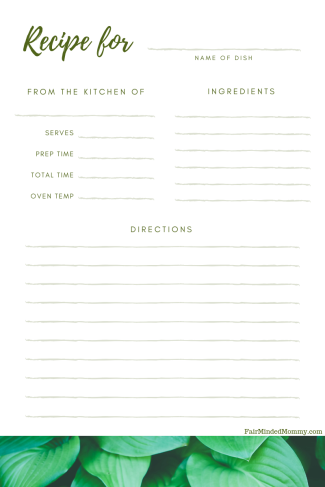 Green Leaves Illustration General Recipe Card (1)